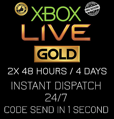 Microsoft Xbox Live 2x 48 Hour / 2x 48hr / 4 Days Gold Code INSTANT DISPATCH24/7