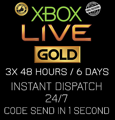 Microsoft Xbox Live 3x 48 Hour / 3x 48hr / 6 Days Gold Code INSTANT DISPATCH24/7
