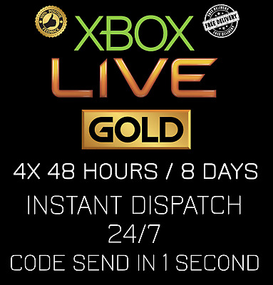 Microsoft Xbox Live GOLD Code / 8 Days / 4x 48 Hour / INSTANT DISPATCH 24/7