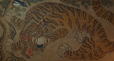 Very Fine Large Early 1900 Korean Folk Art MinHwa Hand Painting Tiger & Magpie
