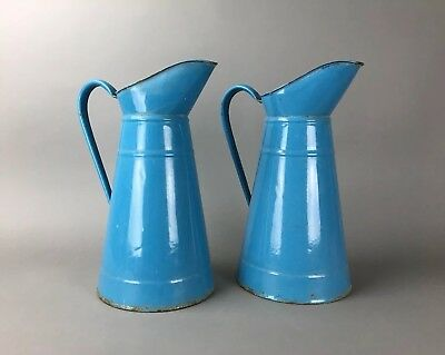 Antique French Country Blue Enamel Large Pitcher Pair