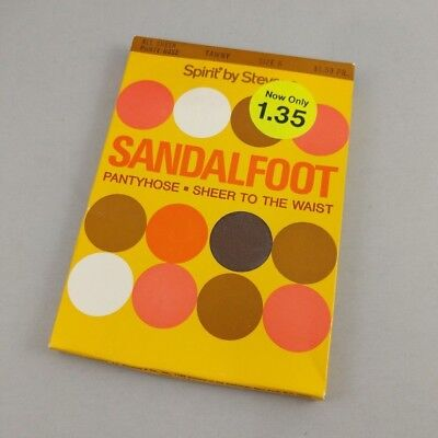 Vintage Sandalfoot Pantyhose in Package Spirit by Stevens Tawny Size A Sheet 80s