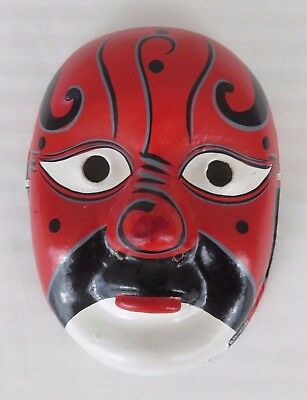 "Vintage Asian Opera Face Mask Paper Mache Black/Red/White/Gray  8 7/8"" x 6 1/2"""