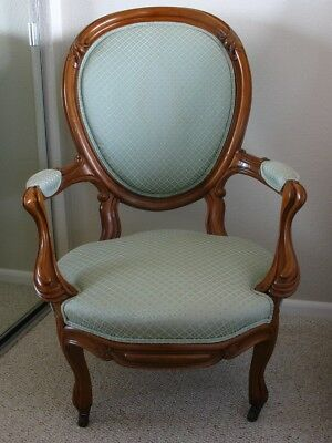 Antique Victorian Green Upholstered Wood Arm Chair