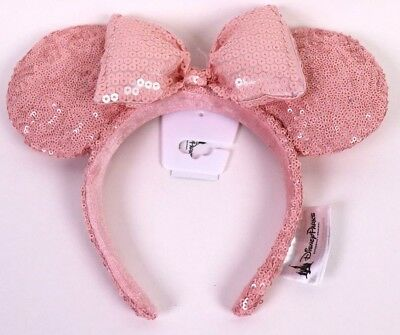 Disney Parks Millennial Pink Minnie Mouse Bow Sequins Ear Hat Headband Ears