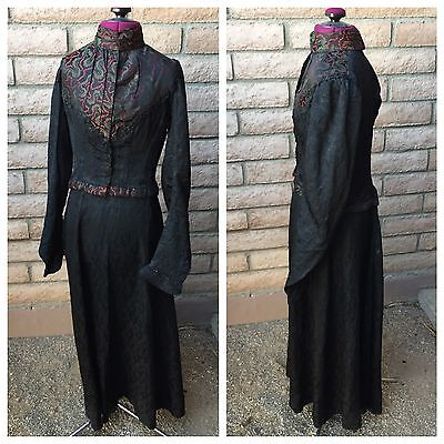 1880s 2-Pc Victorian Dress Black Red Green Boned Bodice Skirt Antique Christmas