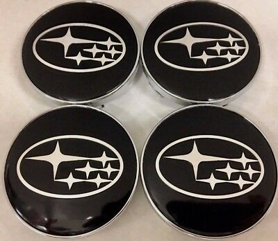 4Pcs, Subaru Black, 60 MM, Wheel Center Hub Cap, Fit: Forester, Impreza, Legacy