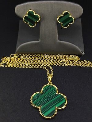 Solid 925 Sterling Silver Green Leaf Clover Flower Set Necklace & Earrings 14K