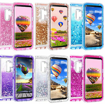 Clear Samsung Galaxy Glitter Liquid Shockproof Protective Armor Case Cover