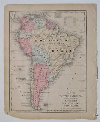 1884 Mitchell Copperplate Map of SOUTH AMERICA