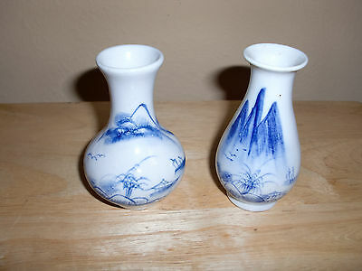 "Antique Chinese Hand Painted Cramic 2 Small Vases Houses Trees Mountains 3.5""H"