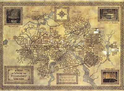 Map of Middle Earth Lord Of The Rings Art Silk Poster 8x12 24x36 24x43