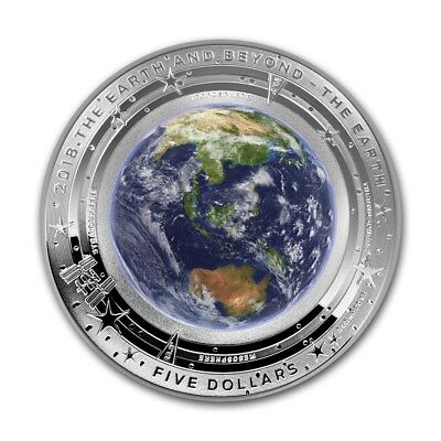 2018 Australian Domed The Earth And Beyond Colorized 1 oz .999 Silver Proof Coin
