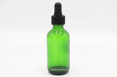 1oz (GREEN) Glass Bottles for Essential Oils with Glass Eye Dropper - Pack of 4