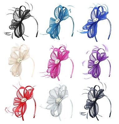 Lisa Jewel Sinamay & Feather Headband Fascinator in a wide range of colours