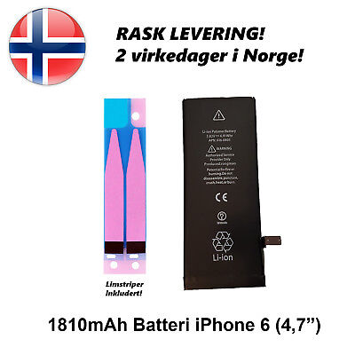 For iPhone 6 New Battery Replacement 1810mAh Fast Delivery Norway