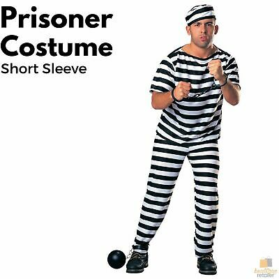 PRISONER COSTUME Halloween Jail Convict Adult Outfit Black White Short Sleeve