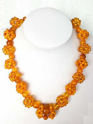 Antique Natural Baltic Amber Butterscotch Egg Yolk Bead Amber Necklace 50G 老琥珀