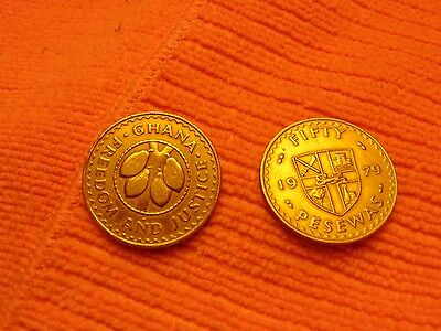 2 Large Brass Coins GHANA 1979 FIFTY PESEWAS ciculated condition