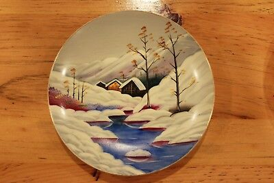 Vintage Hand Painted Winter Scene Plate Snow Mountains Cabin