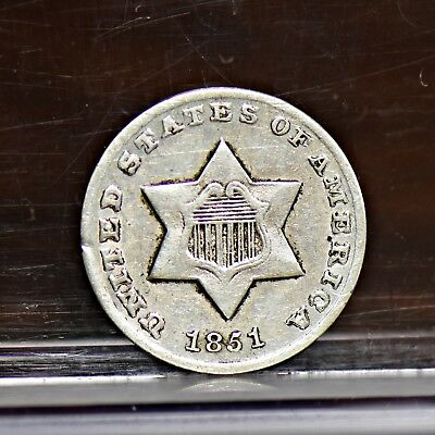 1851-O Three Cent Silver 3CS - XF Details (#12005)