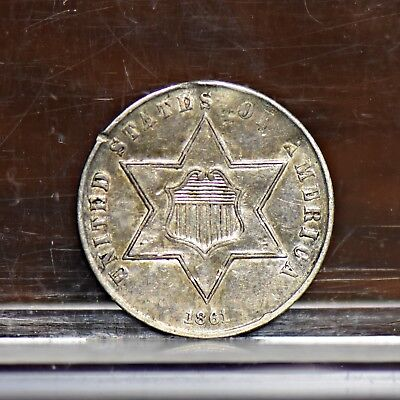 1861 Three Cent Silver 3CS - XF Details (#12007)