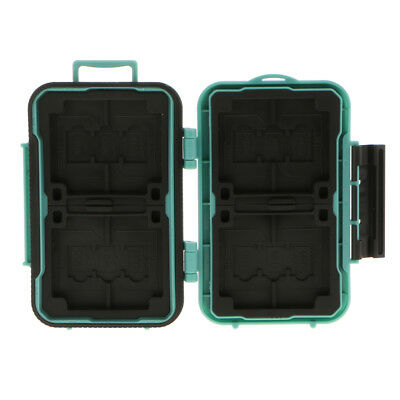 MagiDeal Waterproof Memory Card Case Storage Box 4 CF/ 8 SD / 12 TF Green
