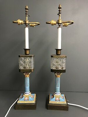 Pair Of Antique Edwardian Victorian Crystal, Brass Hand Painted Ceramic Lamps