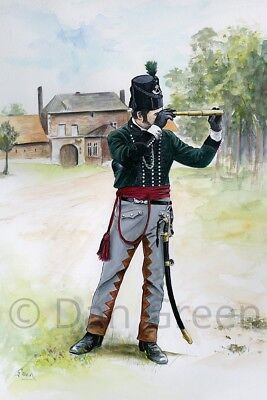 """ORIGINAL MILITARY WATERCOLOUR PAINTING - OFFICER 95th """"Rifles"""" Regiment"""