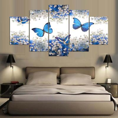 Blue Butterfly Abstract Art Painting 5 Panels HD Canvas Print Home Decor Posters