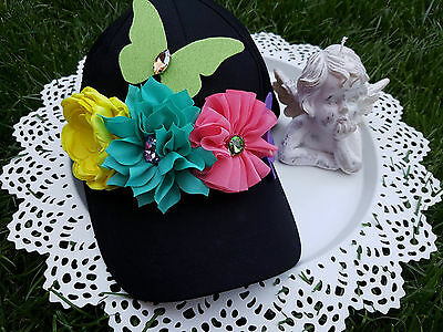 Beautiful One Size New cap black Decorated with Flowers and Butterflies