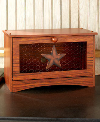 Star Bread Box Holder Rustic Country Kitchen Table Counter Home Decor