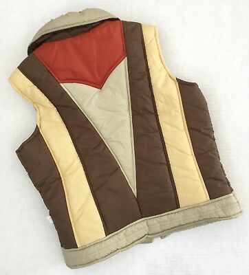 Vtg 70s Ms Pioneer Brown Tan Rust Ski Vest Womens Size M or L Colorblock Rainbow