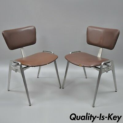 Pair Vtg Cast Aluminium Stacking Side Chairs by Crucible Mid Century Modern B