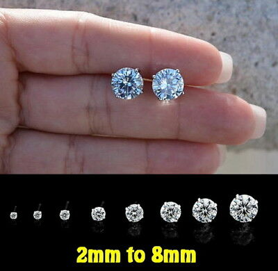 GENUINE SOLID 925 STERLING Silver- 2-8mm AAA CZ Stud Earrings-Free Shipping