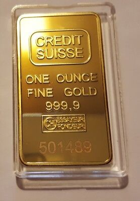 1 ounce credit suisse Gold Plated bar