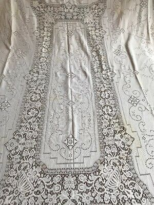 AMAZING Antique Linen HAND MADE Bobbin Lace Rectangle Tablecloth 105*65 Inches