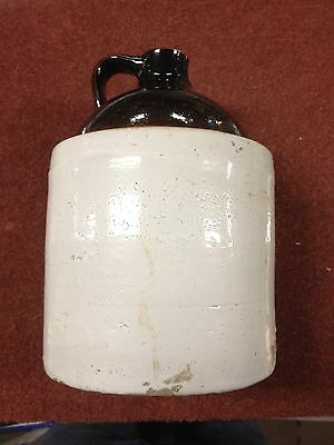 Vintage 1 Gallon Whiskey Moonshine Stoneware Pottery Jug Two Tone Crock Glazed