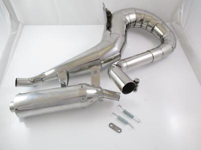"""Exhaust """" SCOOTRS """" Right Hand Stainless Steel Polished VESPA PX80,PX125,PX150"""
