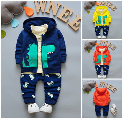 3pcs baby toddler Kids boys outfits jacket coat+ T shirt + pants sets dinosaur