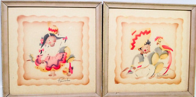 Vintage Pair of Mexican Folk Art Collectible Water Color Paintings