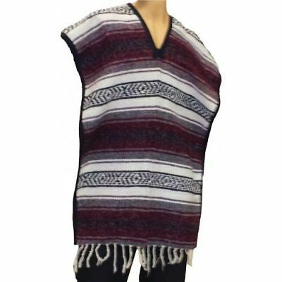 Authentic Mexican Poncho BURGANDY Serape Gaban Western Cowboy Adult Costume