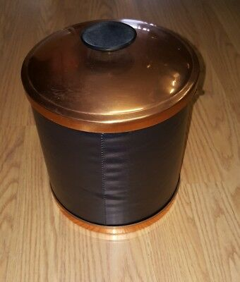Vintage Coppercraft Guild Ice Bucket Midcentury USA Faux Black Leather Skin