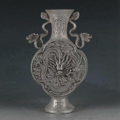 Antiques Chinese  Silvering Copper Dragon Vase Made By The Royal DaQing