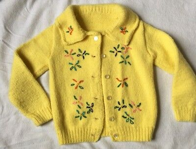 Vintage Hand Knit Toddler Yellow Cardigan Sweater with Embroidered Flowers
