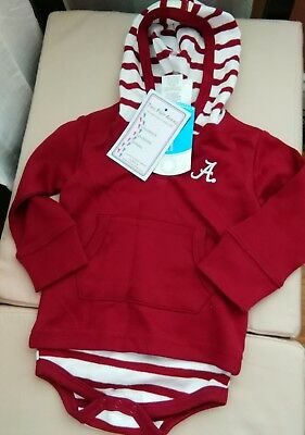 Alabama Crimson Tide 12 month Baby Striped Hooded Onsie NWT