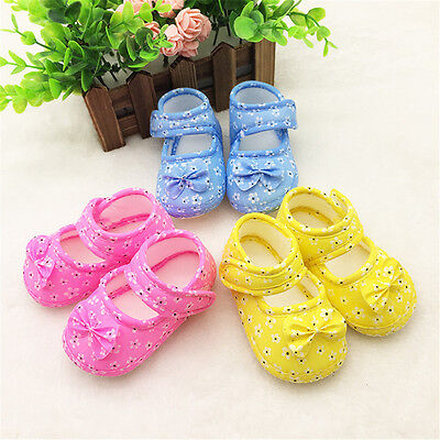 0-18M Toddler Infant Girls Floral Prewalker Lace Shoes Soft Sole Crib Baby Shoes