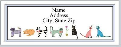 Personalized Address Labels Colorful Cats Buy 3 get 1 free (bx 322)