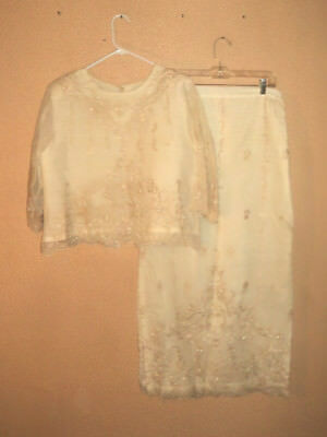 Ladies Two Piece Top & Skirt Set Unbranded Hand-Made Cream/Ivory w/Beads Size XL