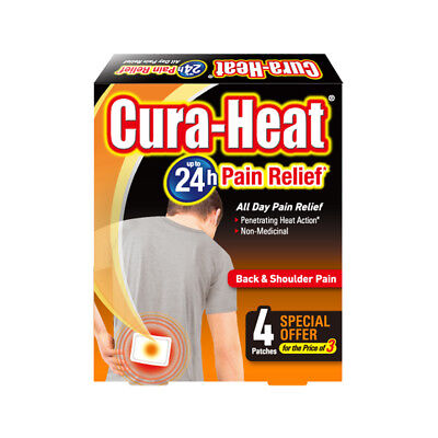 Cura Heat Air Activated Back & Shoulder 24H Pain Relief Heat 8 Pads 8/12/16/20